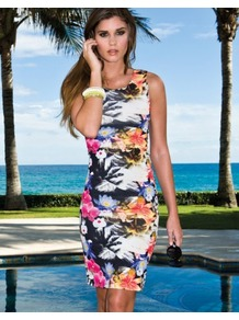 Floral Bodycon Dress - neckline: round neck; fit: tight; sleeve style: sleeveless; style: bodycon; occasions: casual, evening, holiday; length: just above the knee; fibres: polyester/polyamide - stretch; predominant colour: multicoloured; sleeve length: sleeveless; texture group: jersey - clingy; trends: high impact florals; pattern type: fabric; pattern size: standard; pattern: florals