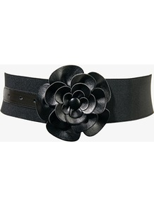 Faux Leather Rosette Belt - predominant colour: black; occasions: casual, evening, work, occasion; type of pattern: standard; style: elasticated; size: wide; worn on: waist; material: faux leather; pattern: plain; finish: plain; embellishment: corsage