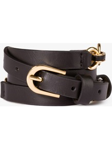 Chain Link Belt - secondary colour: gold; predominant colour: black; occasions: casual, evening, work; type of pattern: standard; style: chainlink; size: standard; worn on: hips; material: faux leather; pattern: plain; finish: plain; embellishment: chain/metal