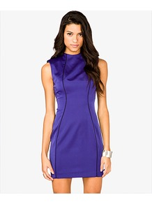 High Neck Sheath Dress - style: shift; length: mini; fit: tailored/fitted; pattern: plain; sleeve style: sleeveless; neckline: high neck; shoulder detail: shoulder pads; predominant colour: royal blue; occasions: evening; fibres: polyester/polyamide - 100%; back detail: embellishment at back; sleeve length: sleeveless; texture group: structured shiny - satin/tafetta/silk etc.; pattern type: fabric