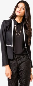 Zipper Waist Blazer - style: single breasted tuxedo; shoulder detail: shoulder pads; collar: shawl/waterfall; secondary colour: ivory; predominant colour: black; occasions: evening, occasion; length: standard; fit: tailored/fitted; fibres: cotton - stretch; sleeve length: long sleeve; sleeve style: standard; collar break: low/open; pattern type: fabric; pattern size: small & light; pattern: colourblock; texture group: woven light midweight