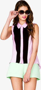 Colorblocked Panel Top - neckline: shirt collar/peter pan/zip with opening; sleeve style: sleeveless; style: shirt; secondary colour: pink; predominant colour: black; occasions: casual, work, holiday; length: standard; fibres: cotton - 100%; fit: body skimming; back detail: longer hem at back than at front; sleeve length: sleeveless; texture group: cotton feel fabrics; pattern type: fabric; pattern size: standard; pattern: colourblock
