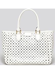 Tote Addison - predominant colour: white; occasions: casual, work, holiday; type of pattern: light; style: tote; length: handle; size: standard; material: leather; pattern: plain, patterned/print; trends: sporty redux; finish: plain