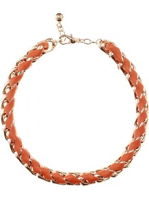Leather Woven Chain Link Necklace - predominant colour: bright orange; secondary colour: gold; occasions: evening, work, occasion, holiday; style: choker/collar; length: short; size: small; material: chain/metal; finish: metallic; embellishment: chain/metal