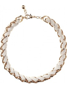 Leather Woven Chain Link Necklace - predominant colour: white; secondary colour: gold; occasions: casual, evening, work, occasion, holiday; style: choker/collar; length: short; size: standard; material: chain/metal; finish: metallic; embellishment: chain/metal