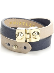 Lana Cuff - predominant colour: black; occasions: casual, evening, work, holiday; style: cuff; size: standard; material: leather; finish: plain; embellishment: chain/metal, studs