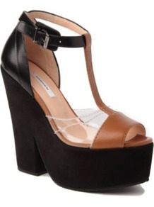 Suede And Leather Wedge Sandals - predominant colour: black; occasions: casual, evening, work, occasion, holiday; material: leather; heel height: high; embellishment: buckles; ankle detail: ankle strap; heel: platform; toe: open toe/peeptoe; style: standard; finish: plain; pattern: plain, colourblock