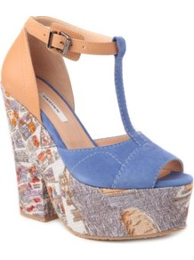 Suede And Leather Wedge Sandals - occasions: casual, evening, work, occasion, holiday; predominant colour: multicoloured; material: suede; heel height: high; embellishment: buckles; ankle detail: ankle strap; heel: platform; toe: open toe/peeptoe; style: standard; trends: statement prints; finish: plain; pattern: patterned/print, colourblock