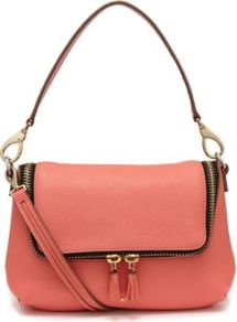 Maxi Zip Cross Body Bag - predominant colour: coral; occasions: casual, evening, work, occasion, holiday; style: shoulder; length: across body/long; size: standard; material: leather; embellishment: tassels, zips; pattern: plain; finish: plain