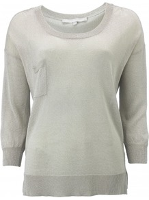 Dawn Jumper - neckline: round neck; bust detail: pocket detail at bust; style: standard; predominant colour: silver; occasions: casual; length: standard; fibres: polyester/polyamide - 100%; fit: standard fit; back detail: longer hem at back than at front; sleeve length: 3/4 length; sleeve style: standard; texture group: knits/crochet; trends: metallics; pattern type: knitted - fine stitch