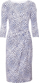 Etienne Dress - style: shift; neckline: round neck; fit: fitted at waist; waist detail: fitted waist, twist front waist detail/nipped in at waist on one side/soft pleats/draping/ruching/gathering waist detail; pattern: polka dot, patterned/print; predominant colour: ivory; occasions: casual, evening, work, occasion; length: just above the knee; fibres: polyester/polyamide - mix; hip detail: ruching/gathering at hip, soft pleats at hip/draping at hip/flared at hip; sleeve length: 3/4 length; sleeve style: standard; trends: glamorous day shifts; pattern type: fabric; pattern size: small & busy; texture group: jersey - stretchy/drapey