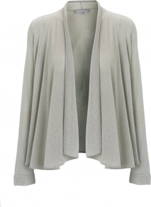 Rhian Cardigan - pattern: plain; neckline: shawl; bust detail: ruching/gathering/draping/layers/pintuck pleats at bust; style: open front; predominant colour: silver; occasions: casual, work; length: standard; fibres: polyester/polyamide - 100%; fit: loose; hip detail: dip hem; sleeve length: long sleeve; sleeve style: standard; texture group: knits/crochet; trends: metallics, volume; pattern type: knitted - other