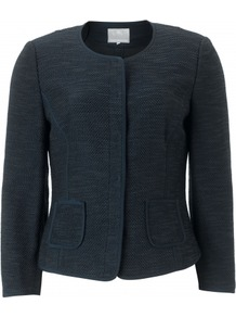 Versaille Jacket - pattern: plain, herringbone/tweed; style: cropped; length: cropped; hip detail: front pockets at hip; collar: high neck; predominant colour: navy; occasions: casual, evening, work; fit: tailored/fitted; fibres: cotton - mix; waist detail: fitted waist; sleeve length: long sleeve; sleeve style: standard; collar break: high; pattern type: fabric; pattern size: standard; texture group: tweed - light/midweight