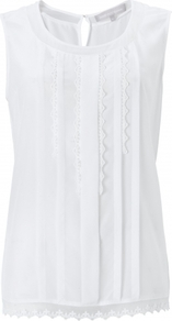 Clarisse Top - neckline: round neck; sleeve style: sleeveless; bust detail: ruching/gathering/draping/layers/pintuck pleats at bust; predominant colour: white; occasions: casual, holiday; length: standard; style: top; fibres: silk - mix; fit: straight cut; back detail: keyhole/peephole detail at back; sleeve length: sleeveless; texture group: cotton feel fabrics; pattern type: fabric; pattern size: standard; embellishment: embroidered