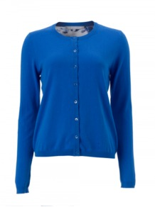 Lysanne Cardigan - neckline: round neck; pattern: plain; hip detail: fitted at hip; back detail: contrast pattern/fabric at back; bust detail: buttons at bust (in middle at breastbone)/zip detail at bust; predominant colour: royal blue; occasions: casual, work; length: standard; style: standard; fibres: cotton - 100%; fit: standard fit; sleeve length: long sleeve; sleeve style: standard; texture group: knits/crochet; trends: statement prints; pattern type: knitted - fine stitch; pattern size: standard