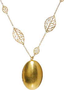 Locket Leaf Chain Necklace - predominant colour: gold; occasions: evening, work, occasion; style: pendant; length: long; size: large/oversized; material: chain/metal; trends: metallics; finish: metallic; embellishment: chain/metal