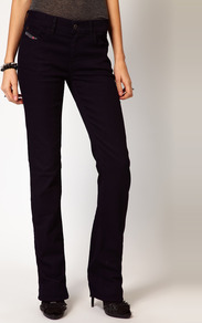 Bootzee Jeans - style: bootcut; length: standard; pattern: plain; pocket detail: traditional 5 pocket; waist: mid/regular rise; predominant colour: navy; occasions: casual, evening; fibres: cotton - mix; jeans detail: dark wash; texture group: denim; pattern type: fabric; pattern size: standard