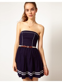 Hilfiger Denim Belted Strapless Dress - length: mini; neckline: strapless (straight/sweetheart); pattern: plain; sleeve style: strapless; bust detail: added detail/embellishment at bust; predominant colour: navy; occasions: casual, evening, holiday; fit: fitted at waist & bust; style: fit & flare; fibres: cotton - 100%; hip detail: soft pleats at hip/draping at hip/flared at hip; sleeve length: sleeveless; texture group: cotton feel fabrics; trends: glamorous day shifts; pattern type: fabric; pattern size: small & light; embellishment: embroidered