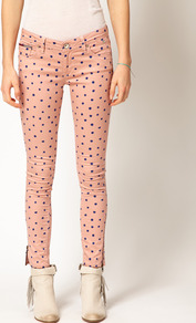 Hilfiger Denim Spot Skinny Jeans - style: skinny leg; waist: low rise; pattern: polka dot; pocket detail: traditional 5 pocket; predominant colour: pink; occasions: casual; length: ankle length; fibres: cotton - mix; texture group: denim; pattern type: fabric; pattern size: small & busy