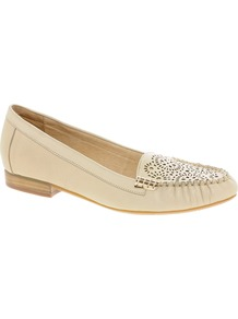 Lazey Flat Shoes - predominant colour: ivory; occasions: casual, evening, work; material: leather; heel height: flat; embellishment: studs, applique; toe: round toe; style: loafers; finish: plain; pattern: patterned/print, plain