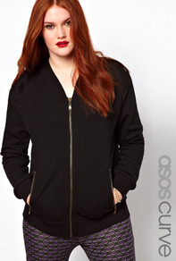 Curve Exclusive Sweat Bomber With Epaulettes - pattern: plain; hip detail: side pockets at hip; collar: standard biker; fit: slim fit; style: bomber; predominant colour: black; occasions: casual; length: standard; fibres: polyester/polyamide - 100%; sleeve length: long sleeve; sleeve style: standard; collar break: medium; pattern type: fabric; texture group: jersey - stretchy/drapey