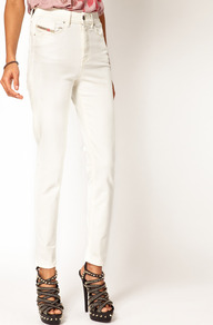 Highknee High Waist Skinny Jeans - style: skinny leg; length: standard; pattern: plain; waist: high rise; pocket detail: traditional 5 pocket; predominant colour: white; occasions: casual, evening; fibres: cotton - stretch; texture group: denim; pattern type: fabric