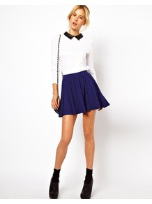 Skirt In Skater Style - length: mini; pattern: plain; fit: loose/voluminous; waist detail: elasticated waist, fitted waist, narrow waistband; waist: mid/regular rise; predominant colour: navy; occasions: casual, evening; style: a-line; fibres: polyester/polyamide - stretch; hip detail: structured pleats at hip; trends: volume; pattern type: fabric; pattern size: standard; texture group: jersey - stretchy/drapey
