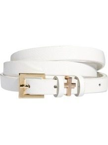 Skinny Cross Metal Keeper Waist Belt - predominant colour: white; occasions: casual, evening, work, occasion; style: classic; size: skinny; worn on: waist; material: faux leather; pattern: plain; finish: plain; embellishment: buckles, chain/metal