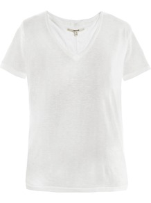 Janis V Neck T Shirt - neckline: v-neck; pattern: plain; style: t-shirt; predominant colour: white; occasions: casual, work; length: standard; fibres: linen - mix; fit: body skimming; sleeve length: short sleeve; sleeve style: standard; pattern type: fabric; pattern size: standard; texture group: jersey - stretchy/drapey