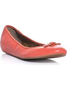 Bion Flats - predominant colour: coral; occasions: casual, work; material: leather; heel height: flat; embellishment: elasticated, snaffles, chain/metal; toe: round toe; style: ballerinas / pumps; trends: fluorescent; finish: plain; pattern: plain