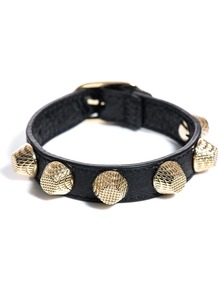 Studded Leather Bracelet - predominant colour: black; occasions: casual, evening; style: cuff; size: standard; material: leather; finish: plain; embellishment: studs
