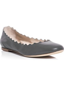 Scalloped Edge Flats - predominant colour: charcoal; occasions: casual, work; material: leather; heel height: flat; toe: round toe; style: ballerinas / pumps; finish: plain; pattern: plain