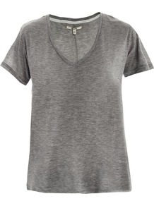 Janis V Neck T Shirt - neckline: v-neck; sleeve style: capped; pattern: plain; style: t-shirt; predominant colour: mid grey; occasions: casual; length: standard; fibres: linen - mix; fit: loose; sleeve length: short sleeve; pattern type: fabric; texture group: jersey - stretchy/drapey