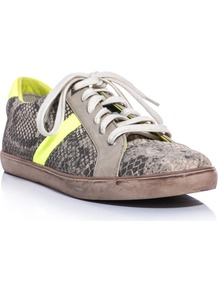 Hanson Trainers - predominant colour: taupe; occasions: casual; material: leather; heel height: flat; toe: round toe; style: trainers; trends: sporty redux, statement prints, fluorescent; finish: plain; pattern: animal print, colourblock