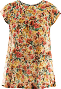 Comica Blouse - neckline: round neck; sleeve style: capped; style: blouse; waist detail: peplum waist detail; occasions: casual, work; length: standard; fibres: cotton - mix; fit: straight cut; predominant colour: multicoloured; sleeve length: short sleeve; texture group: sheer fabrics/chiffon/organza etc.; pattern type: fabric; pattern size: small &amp; busy; pattern: florals