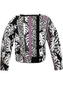 Daniela Jacket - collar: asymmetric biker; style: boxy; predominant colour: black; occasions: casual, evening, work; length: standard; fit: straight cut (boxy); fibres: silk - 100%; sleeve length: long sleeve; sleeve style: standard; trends: statement prints; collar break: medium; pattern type: fabric; pattern size: standard; pattern: florals, patterned/print; texture group: other - light to midweight