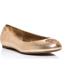 Sequin Skull Leather Flats - predominant colour: gold; occasions: casual, evening, work; material: leather; heel height: flat; embellishment: sequins; toe: round toe; style: ballerinas / pumps; trends: metallics; finish: metallic; pattern: patterned/print, plain