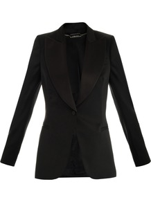 Satin Lapel Tuxedo Jacket - pattern: plain; style: single breasted tuxedo; collar: wide lapels; predominant colour: black; occasions: evening, work, occasion; length: standard; fit: tailored/fitted; fibres: wool - mix; waist detail: fitted waist; shoulder detail: added shoulder detail; back detail: back vent/flap at back; sleeve length: long sleeve; sleeve style: standard; texture group: structured shiny - satin/tafetta/silk etc.; trends: tuxedo; collar break: low/open; pattern type: fabric