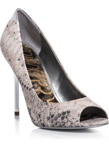 Reagan Shoes - predominant colour: stone; occasions: evening, work, occasion; material: leather; heel height: high; heel: stiletto; toe: open toe/peeptoe; style: courts; finish: plain; pattern: animal print, patterned/print