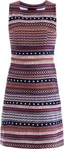 Swarovski Crystal Embellished Stripe Dress - style: shift; length: mid thigh; neckline: high square neck; pattern: plain; sleeve style: sleeveless; waist detail: fitted waist; back detail: contrast pattern/fabric at back; occasions: casual, evening, work, occasion, holiday; fit: soft a-line; fibres: cotton - mix; predominant colour: multicoloured; sleeve length: sleeveless; texture group: ornate wovens; trends: striking stripes, glamorous day shifts; pattern type: fabric; pattern size: standard; embellishment: beading