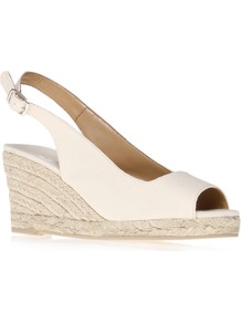 Beso - predominant colour: ivory; occasions: casual, holiday; material: fabric; heel height: mid; embellishment: buckles; ankle detail: ankle strap; heel: wedge; toe: open toe/peeptoe; style: standard; finish: plain; pattern: plain