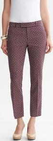 Hampton Fit Bold Print Crop - pattern: checked/gingham, patterned/print; pocket detail: small back pockets, pockets at the sides; waist: mid/regular rise; predominant colour: burgundy; occasions: casual, evening, work; length: ankle length; fibres: cotton - mix; hip detail: fitted at hip (bottoms); waist detail: narrow waistband; texture group: cotton feel fabrics; fit: slim leg; pattern type: fabric; pattern size: small & busy; style: standard