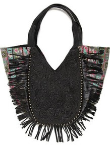 Nanna Embellished Woven Bag - predominant colour: black; occasions: casual, work; type of pattern: standard; style: tote; length: handle; size: standard; material: fabric; embellishment: embroidered, fringing, tassels; pattern: plain, patterned/print; finish: plain