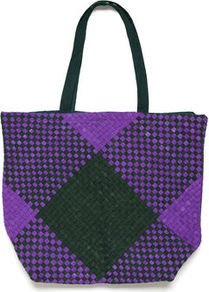 Elizabeth Woven Fabric Tote - predominant colour: purple; occasions: casual, work; type of pattern: standard; style: tote; length: shoulder (tucks under arm); size: oversized; material: macrame/raffia/straw; pattern: checked/gingham, pinstripe, patterned/print; trends: modern geometrics; finish: plain