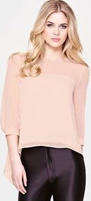 Petal Blouse - pattern: plain; sleeve style: balloon; style: blouse; predominant colour: nude; occasions: casual, evening, work; length: standard; fibres: polyester/polyamide - 100%; fit: straight cut; neckline: crew; bust detail: contrast pattern/fabric/detail at bust; back detail: longer hem at back than at front; sleeve length: 3/4 length; texture group: sheer fabrics/chiffon/organza etc.; pattern type: fabric