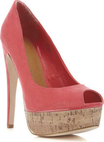 Sammie Coral Cork Court Shoe - predominant colour: coral; occasions: evening, occasion, holiday; material: fabric; heel height: high; heel: platform; toe: open toe/peeptoe; style: courts; finish: plain; pattern: plain