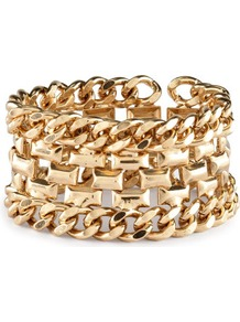 Bracelet - predominant colour: gold; occasions: casual, evening, work, occasion, holiday; style: chain; size: large/oversized; material: chain/metal; finish: metallic; embellishment: chain/metal