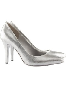 Court Shoes - predominant colour: silver; occasions: evening, work, occasion; material: faux leather; heel height: high; heel: stiletto; toe: pointed toe; style: courts; trends: metallics; finish: metallic; pattern: plain