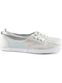 Sneakers - predominant colour: silver; occasions: casual; material: fabric; heel height: flat; toe: round toe; style: trainers; trends: metallics; finish: metallic; pattern: plain, two-tone