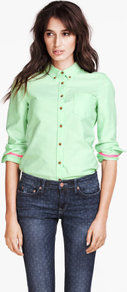 Shirt - neckline: shirt collar/peter pan/zip with opening; pattern: plain; style: shirt; bust detail: pocket detail at bust, buttons at bust (in middle at breastbone)/zip detail at bust; predominant colour: pistachio; occasions: casual, work; length: standard; fibres: cotton - 100%; fit: straight cut; sleeve length: long sleeve; sleeve style: standard; texture group: cotton feel fabrics; pattern type: fabric; pattern size: standard